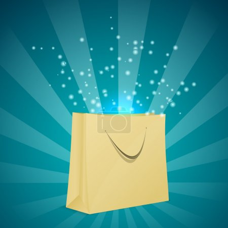 Magic shopping bag with blue light.