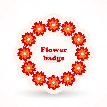 odznaka wektor z kwiatami.