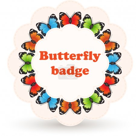 Illustration for Colorful vector badge with butterflies. - Royalty Free Image