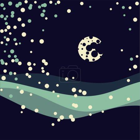 Winterliche Landschaft mit Nachthimmel und Mond.