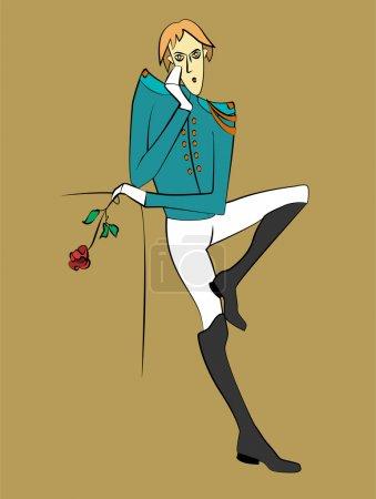 Illustration pour Prince qui attend avec Rose. Illustration vectorielle . - image libre de droit