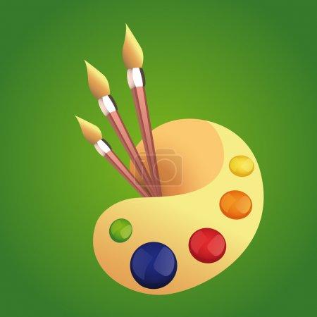 Palette with brush. Vector illustration.