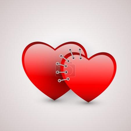 Illustration pour Deux cœurs avec couture. Illustration vectorielle - image libre de droit