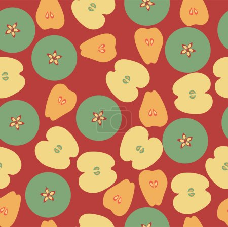 Vector background with apple and pears.