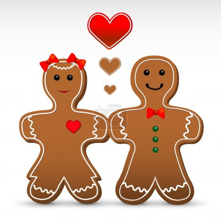 Gingerbread boy and girl cookies. Vector illustration.