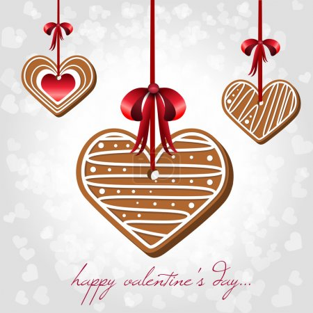 Vector card for Valentine's Day with hearts shaped cookies.