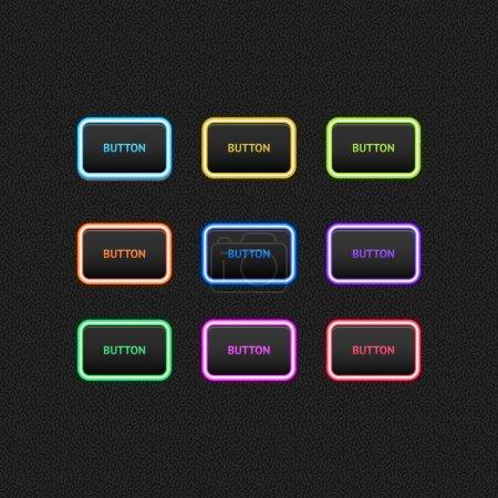 Illustration pour Boutons colorés sur fond noir . - image libre de droit
