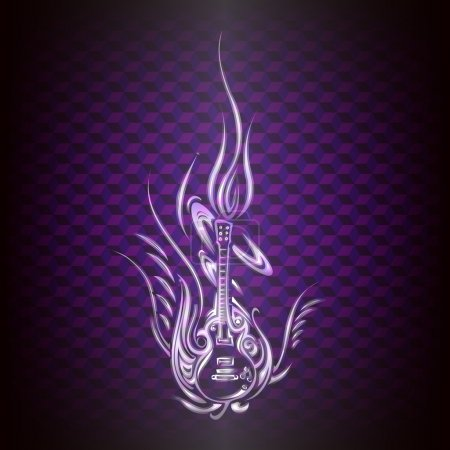 Vector abstract guitar.  Vector illustration.
