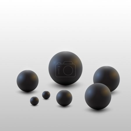 Vector black balls. White bacground.
