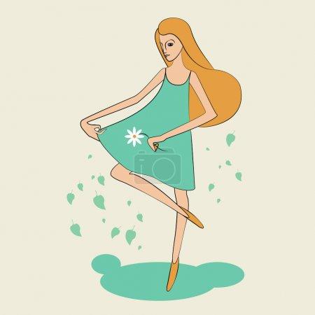 Illustration pour La fille de l'été. Illustration vectorielle . - image libre de droit