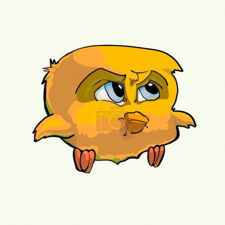 Formidable yellow bird. Vector illustration.