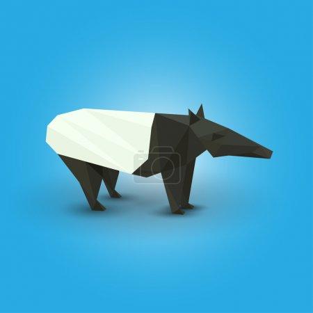 Illustration pour Illustration vectorielle du tapir origami . - image libre de droit