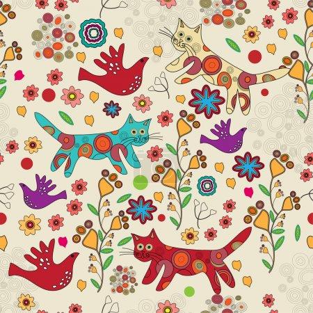 Illustration pour Fond folklorique vectoriel avec chats . - image libre de droit
