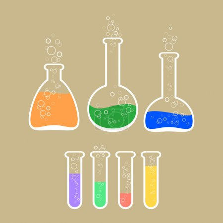 Illustration for Vector illustration of laboratory apparatus with colorful solution. - Royalty Free Image