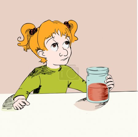 Girl with jam. Vector illustration.