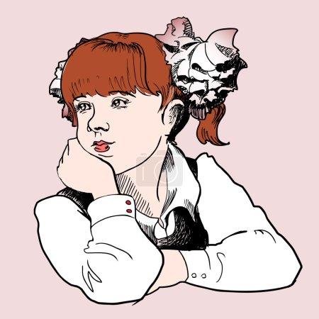 Illustration pour Jolie écolière. Illustration vectorielle . - image libre de droit
