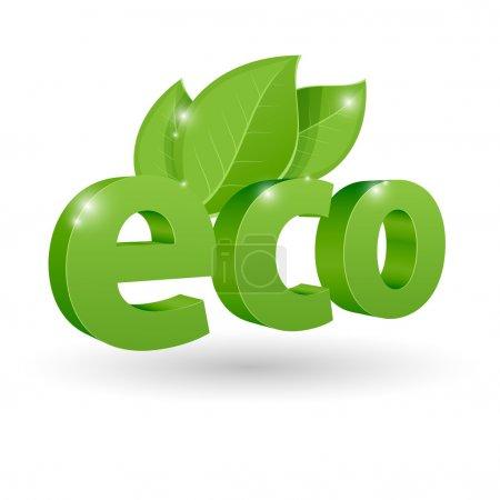 Vector eco icon. White bacground.