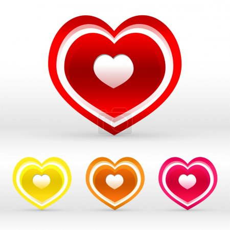 Vector set of colored hearts.