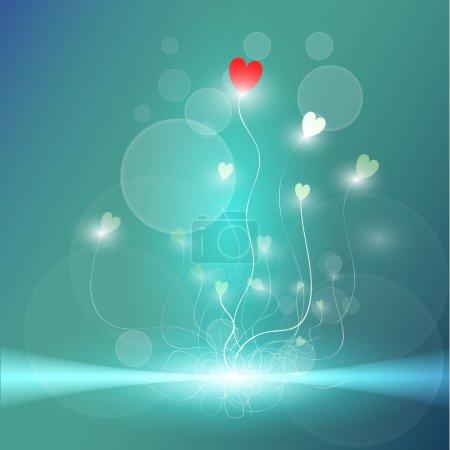 Illustration pour Fond bleu vectoriel avec des coeurs . - image libre de droit