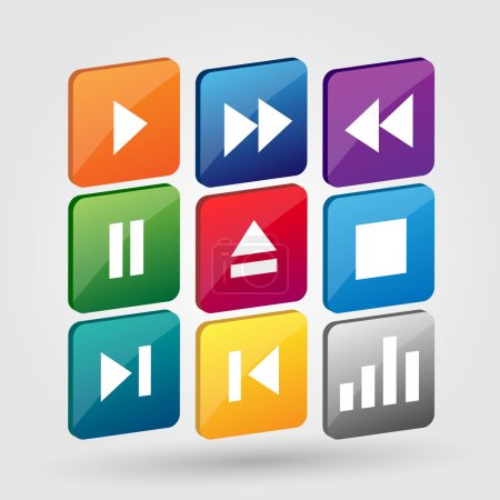 Vector set of media buttons.