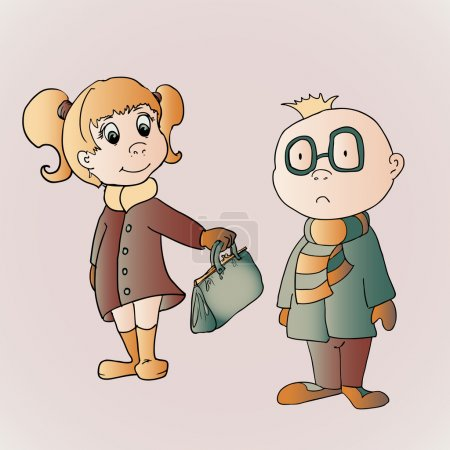 Vector illustration of cute boy and girl.