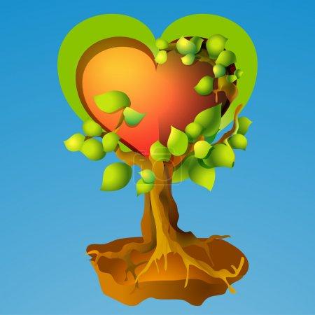 Vector illustration of heart tree.