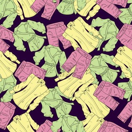 Illustration pour Fond vectoriel avec shorts et chemises . - image libre de droit