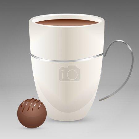 Illustration pour Illustration vectorielle de tasse à café avec bonbons . - image libre de droit