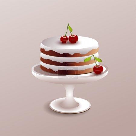 Illustration pour Illustration vectorielle d'un gâteau à la cerise. - image libre de droit