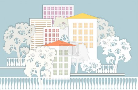 Cute architectural background. Vector illustration.