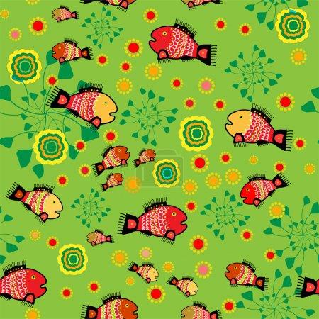 Illustration pour Fond folklorique vectoriel avec poissons . - image libre de droit