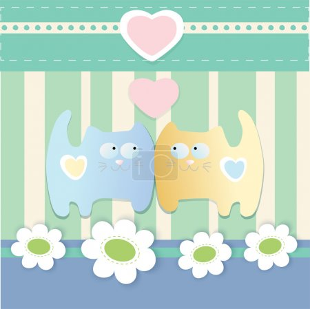 Vector cute background with cats.
