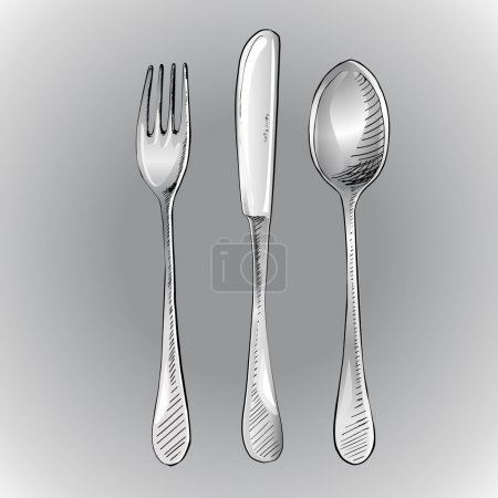 Fork, knife and spoon. Vector illustration.