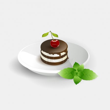 Cherry cake. Vector illustration.