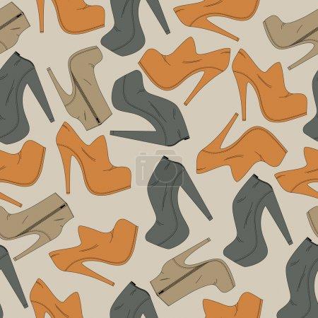 Illustration pour Fond vectoriel avec différentes chaussures . - image libre de droit