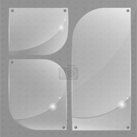 Illustration pour Collection de bannières en verre transparent. - image libre de droit