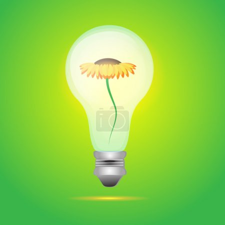 Yellow flower over bulb electric over green background. vector illustration