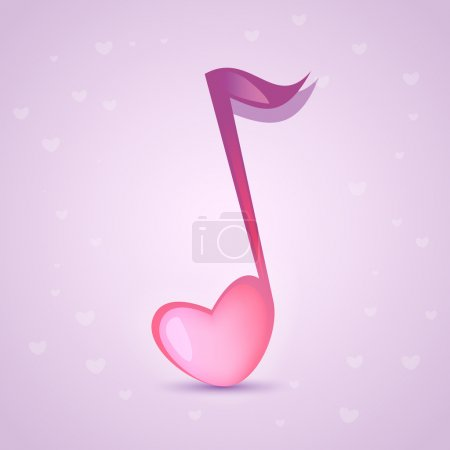 Illustration for Musical love key. Vector illustration. - Royalty Free Image