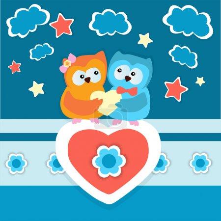 Illustration pour Fond vectoriel avec deux hiboux amoureux . - image libre de droit