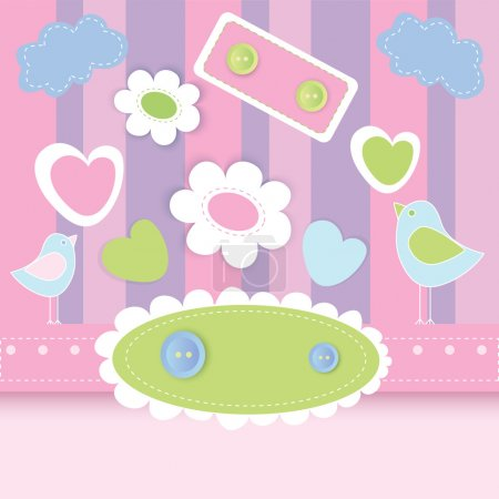 Photo for Vector cute background with birds. - Royalty Free Image