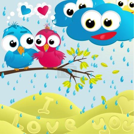Birds couple under the rain.Vector illustration