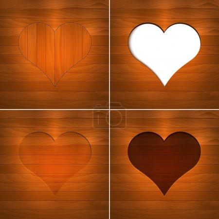 Illustration pour Coeur en bois. Contexte vectoriel . - image libre de droit