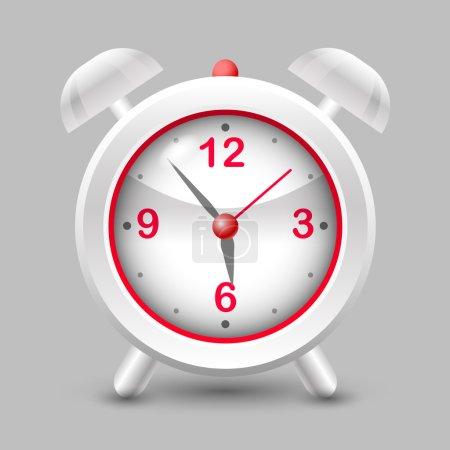 Vector illustration of a red alarm clock.