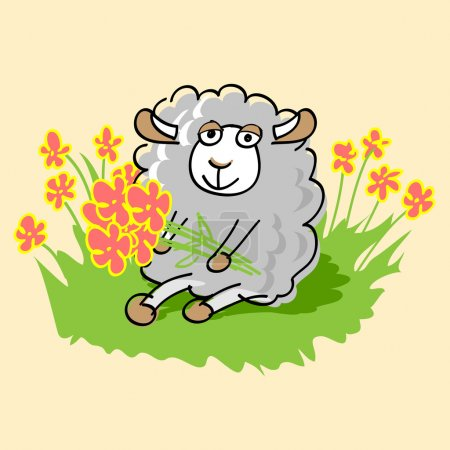 Illustration pour Mignon mouton dessin animé. Illustration vectorielle . - image libre de droit