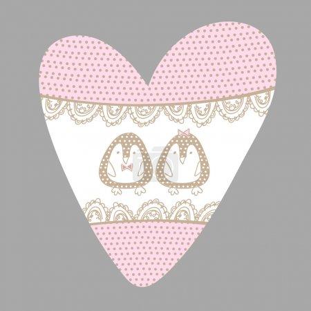 Illustration pour Coeur vecteur avec pingouins . - image libre de droit