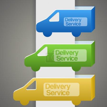 Illustration pour Camion de livraison avec panneau de livraison - image libre de droit