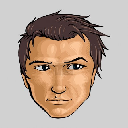 Face of young man. Vector illustration.