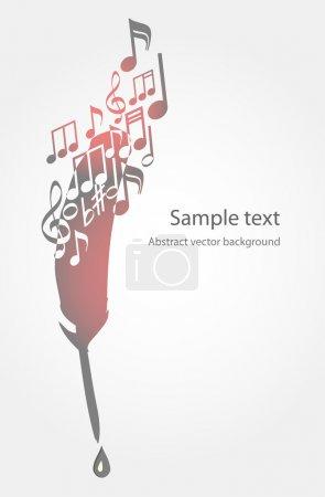Illustration pour Fond vectoriel avec plume et notes de musique . - image libre de droit