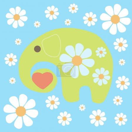 Illustration pour Fond vectoriel avec éléphant et fleurs . - image libre de droit