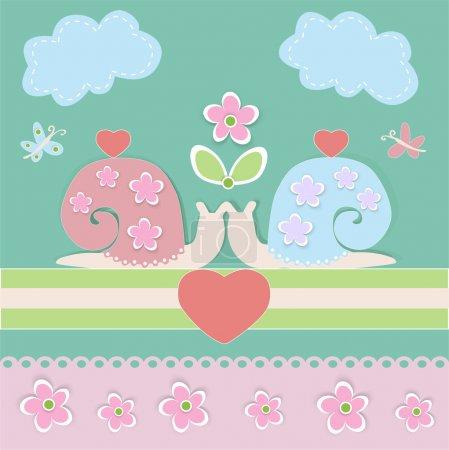 Illustration pour Fond vectoriel avec escargots . - image libre de droit